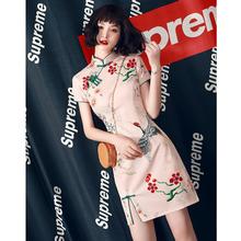旗袍女bj0季年轻款ou年新款少女改良国潮中国风连衣裙(小)个子短款