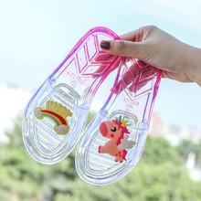 亲子儿bj拖鞋夏季女ou软底沙滩凉拖(小)女孩水晶透明平底一字拖