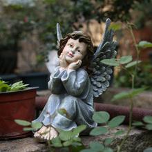 美款乡村复古树脂的物(小)天使雕bj11摆件户ou园装饰 庭院摆件