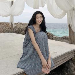 韩国新款女装复古风情南法森林系桃花枝菱形系带露胃小性感连衣裙