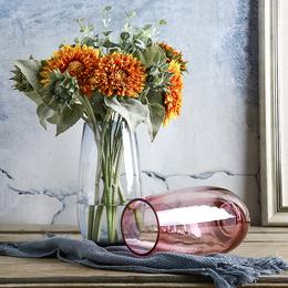 欧式彩色玻璃花瓶 透明客厅工艺品大号插花水培器恐龙蛋