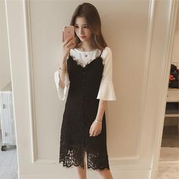 蕾丝吊带连衣裙夏小清新2018新款女学生韩版套装裙气质两件套中长