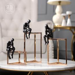 摩登样板间别墅简约现代家庭桌面装饰品思考者摆件客厅创意装饰品