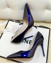 欧洲站裸色细跟高跟鞋尖头黑色工作单鞋女漆皮蓝色大码鞋红色婚鞋