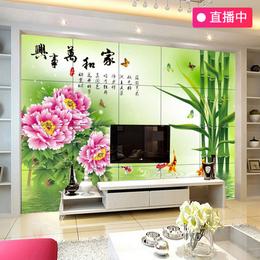 中式电视背景墙瓷砖墙砖客厅瓷砖微晶石壁画家和万事兴瓷砖背景墙