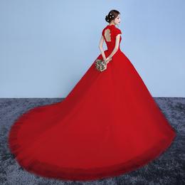 2018新款婚纱礼服新娘欧美大码孕妇结婚拖尾公主梦幻婚纱简约齐地