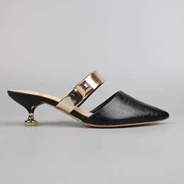 值到爆!外贸原单尖头一字带高跟半拖凉鞋女夏时尚学生大码凉拖鞋