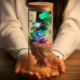 永生花玻璃罩礼盒干花花束礼物玫瑰生日蓝牙音响情人节蓝色妖姬
