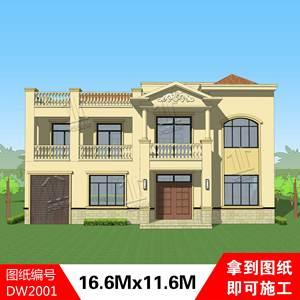 新农村自建房小别墅设计图纸二层欧式复式自用房屋楼房施工图全套图片