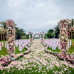 南海自然风三亚婚礼策划海边草坪创意求婚沙滩水晶教堂婚庆公司