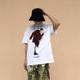 中国有嘻哈吴亦凡同款怪奇物语金鸡独立短袖T恤男 潮牌嘻哈宽松夏
