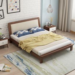 北欧实木床主卧1.5m1.8米床现代简约橡木日式双人床成人婚床家具