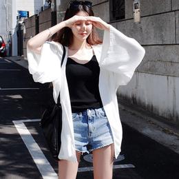 2018新款夏季韩版防晒衣女中长款开衫海边沙滩服百搭薄款外套潮