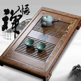 神雕鸡翅木茶盘实木抽屉式花梨木储水排水双用大小号茶台功夫茶具