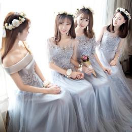伴娘服长款2018新款灰色修身伴娘礼服女伴娘团礼服姐妹裙宴会礼服