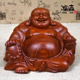 红木雕刻佛像摆件 缅甸花梨木弥勒佛工艺品 木质手工风水摆件