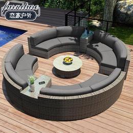 圆形藤沙发户外藤艺沙发半圆形沙发休闲藤编弧形沙发客厅组合家具