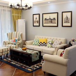 美式布艺沙发 地中海田园风格小户型客厅整装三人位1+2+3组合家具