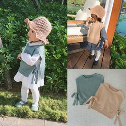 辰辰妈婴童装女宝春装绑带宝宝针织背心一岁小童无袖上衣毛衣背心