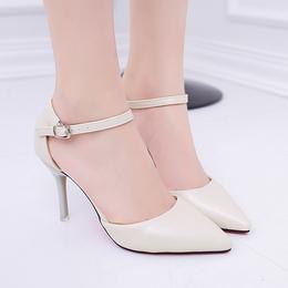 尖头小码高跟鞋32 33一字扣包头凉鞋白色细跟浅口裸色女鞋42大码