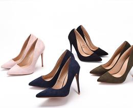 2018新款欧美性感绒面尖头细跟高跟外贸大码女鞋夜店职业女单鞋