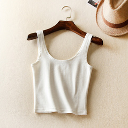 春夏女装双U领吊带小背心 白色纯棉短款修身外穿裹胸打底衫