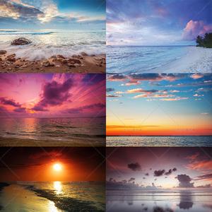 62号夏天海边沙滩夕阳日出朝霞文艺高清风景摄影大图片ps设计素材