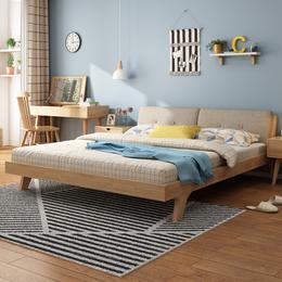 北欧实木床1.5米1.8米双人床现代简约橡木主卧软靠家具套装组合