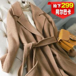2018新款双面零羊绒羊驼绒大衣女中长款阿尔巴卡毛呢外套过膝反季