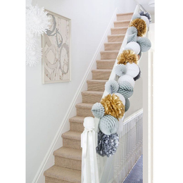 20cm纸花球拉花结婚婚房花球装饰楼梯布置520活动商场橱窗装扮