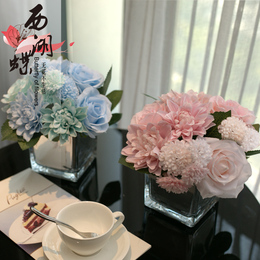美式仿真花假花绢花玫瑰绣球花玻璃瓶套装客厅办公室家居摆件装饰