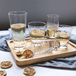 舍里日式创意锤目纹透明玻璃杯家用喝水热水杯子套装泡茶杯牛奶杯