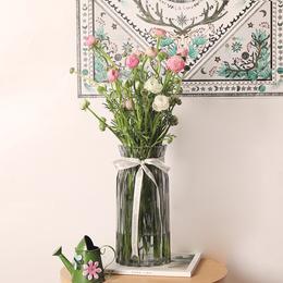 简约竖棱玻璃花瓶透明干花插花彩色玻璃花瓶客厅装饰工艺品摆件