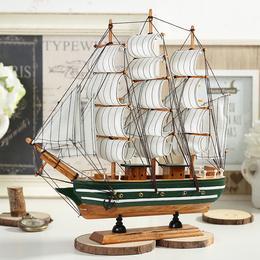 地中海木质帆船模型摆件 实木仿真工艺船 酒吧装饰 手工送人礼品