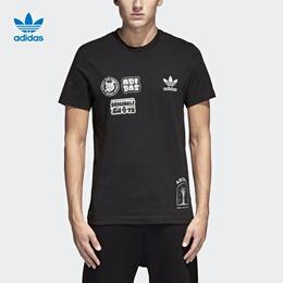 adidas 阿迪达斯 三叶草 男子 短袖上衣 黑 BS3167