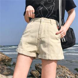 夏季女装韩版宽松卷边复古阔腿短裤显瘦休闲热裤百搭高腰牛仔裤潮