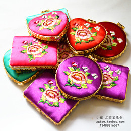 中国风出国送老外双面折叠丝绸绣花镜子民间特色工艺品礼品化妆镜