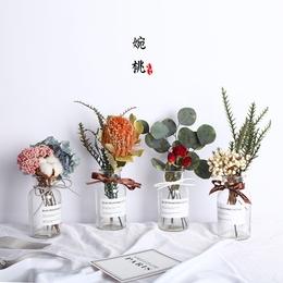 北欧风干花套装进口永生花束满天星带花瓶摆件ins家居小清新装饰