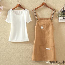 学生套装2018夏季新款韩版短袖T恤+可爱百搭学院风背带裙两件套女