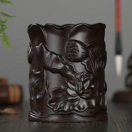 雅轩斋红木笔筒工艺品摆件木雕刻实木紫檀红酸枝黑檀木质荷花笔筒
