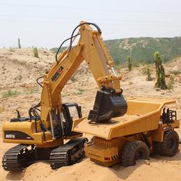 汇纳超大15通道遥控挖掘机合金挖机模型电动工程车遥控挖土机玩具