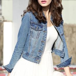 利酷2018春秋牛仔外套女短款长袖新款修身牛仔上衣韩版牛仔夹克衫