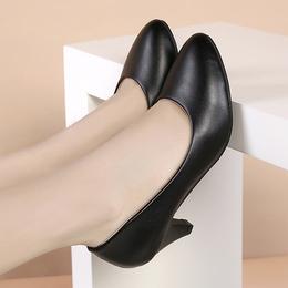 工作鞋女黑色中高跟职业单鞋礼仪舒适圆头软底正装上班面试女鞋子