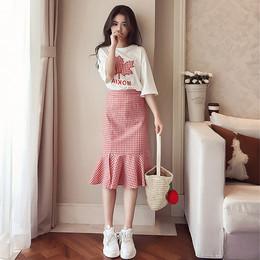 春装2018新款女装韩版小清新套装裙子夏季时髦两件套荷叶边连衣裙
