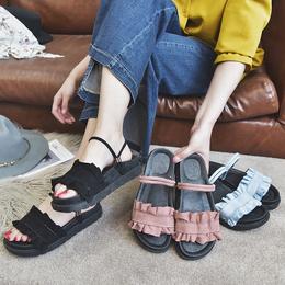 一鞋两穿百搭2018夏新款韩版学生平底仙女的温柔风复古chic凉鞋女