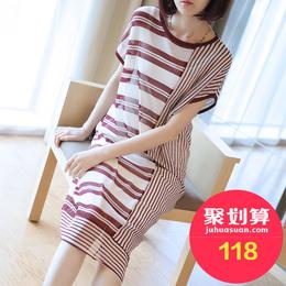 夏季2018新款女士中长款条纹棉麻连衣裙宽松短袖针织罩衫裙子夏天