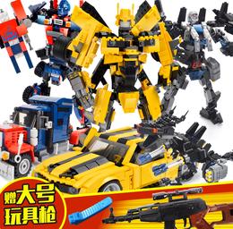 兼容乐高拼装变形机器人男孩超大变形金刚积木玩具古迪大黄蜂儿童