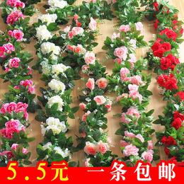 仿真玫瑰花藤壁挂假花藤条空调管装饰遮挡室内吊顶塑料花绢花藤蔓