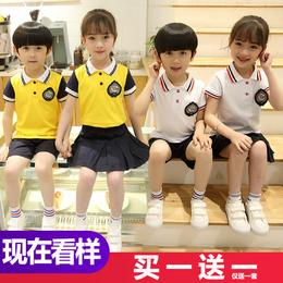幼儿园园服儿童装夏季班服小学生短袖校服装英伦风毕业照套装夏天