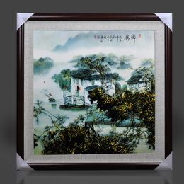陶瓷瓷板画 景德镇 新中式客厅山水风景鱼图仿古陶瓷画人物挂画